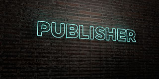 PUBLISHER -Realistic Neon Sign on Brick Wall background - 3D rendered royalty free stock image Royalty Free Stock Image