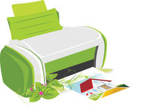 Publishing printer with spring bouquet Stock Image