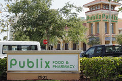 Publix Food & Pharmacy Sign and Supermarket Stock Image
