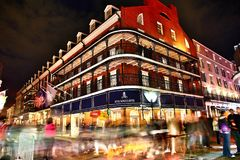 Pubs and bars with neon lights in the French Quarter, New Orleans royalty free stock photo