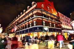 Pubs and bars with neon lights in the French Quarter, New Orleans Louisiana royalty free stock photos