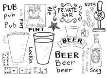 Pubs and Beer Doodles. For icons, cute hand drawn pictures royalty free illustration