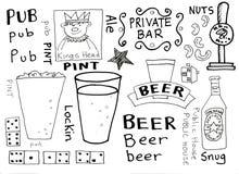 Pubs e Doodles della birra royalty illustrazione gratis