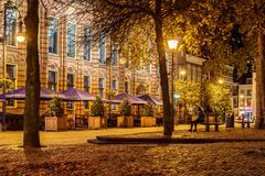 Pubs and restaurants on the central square Jansplein in Arnhem, Stock Photos