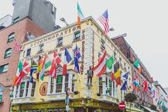 Pubs in the Temple Bar neighbourhood of Dublin city centre. DUBLIN, IRELAND - April 12th, 2018: pubs in the Temple Bar neighbourhood of Dublin city centre, the Royalty Free Stock Images