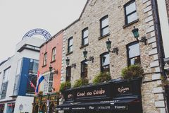 Pubs in the Temple Bar neighbourhood of Dublin city centre. DUBLIN, IRELAND - April 12th, 2018: pubs in the Temple Bar neighbourhood of Dublin city centre, the Royalty Free Stock Photo