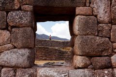 "Puca Pucara Military Ruins at Cusco, Peru. Puca Pucara, which means ""red fort, was an Inca military and administrative facility Stock Image"