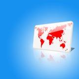 Puce blanche et rouge du monde sur le fond de ciel bleu illustration libre de droits