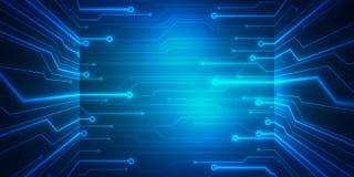 Puce conceptuelle de circuit d'image de Digital sur le fond bleu Image libre de droits