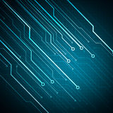 Puce conceptuelle de circuit d'image de Digital sur le fond bleu Photos libres de droits