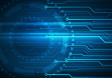 Puce conceptuelle de circuit d'image de Digital sur le fond bleu Photographie stock libre de droits