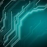 Puce conceptuelle de circuit d'image de Digital sur le fond bleu Images libres de droits