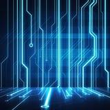 Puce conceptuelle de circuit d'image de Digital sur le mur bleu Photos libres de droits