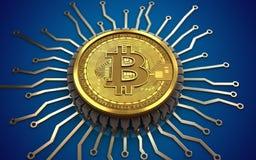 puce 3d intégrée par bitcoin Photo stock