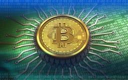 puce 3d intégrée par bitcoin Photos stock