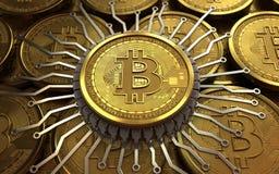 puce 3d intégrée par bitcoin Photographie stock libre de droits