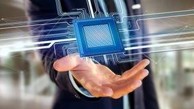 Puce de processeur et connexion réseau - 3d rendent Image libre de droits