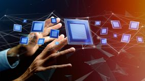 Puce de processeur et connexion réseau - 3d rendent Photo libre de droits