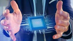 Puce de processeur et connexion réseau - 3d rendent Photographie stock libre de droits