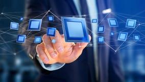 Puce de processeur et connexion réseau - 3d rendent Images libres de droits