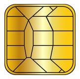 Puce par la carte de crédit Photographie stock libre de droits