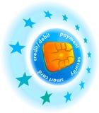 Puce par la carte de crédit avec des étoiles Photo libre de droits