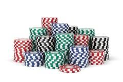 Puces colorées de casino Photographie stock libre de droits