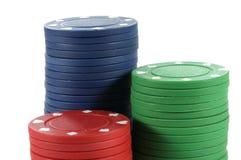 Puces de casino de jeu de tisonnier Photo stock