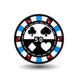 Puces de casino de Noël bleu Chapeau de Santa sur les côtés et le nombre de cinquante au milieu Illustration Utilisation pour le  illustration libre de droits