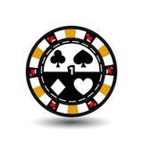 Puces de casino de Noël jaune Chapeau de Santa des côtés et un dans le nombre moyen Illustration Utilisation pour le site, printi illustration de vecteur