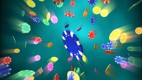 Puces de casino relâchant l'épanouissement bleu de lumière de fond Image libre de droits