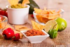 Puces de guacamole et de nacho photographie stock libre de droits