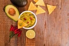 Puces de guacamole et de nacho photo libre de droits
