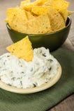 Puces de Nacho avec l'immersion de fromage fondu image stock