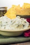 Puces de Nacho avec l'immersion de fromage fondu Images stock