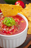 Puces de nacho et immersion mexicaines de Salsa photo stock