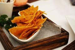 Puces de Nachos avec le Salsa et le guacamole de tomate images libres de droits