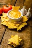 Puces de tortilla avec l'immersion de tomate et de fromage-ail Images libres de droits