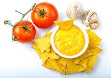 Puces de tortilla avec l'immersion de tomate et de fromage-ail Image stock