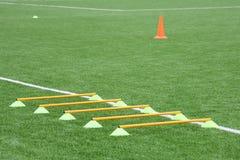 Puces et cône pour la formation du football Folâtre le fond avec des inscriptions sur une pelouse artificielle Photographie stock libre de droits