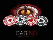 Puces et roulette de casino sur le fond noir, illustration 3d Photographie stock libre de droits
