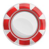 Puces rayées rouges icône, style de casino de bande dessinée illustration libre de droits