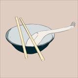Puchar, chopsticks i łyżka, ilustracja wektor