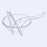 Puchar, chopsticks i łyżka, royalty ilustracja