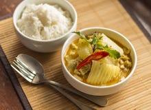 Puchar dzwoniący Tajlandzki jedzenie Zielenieje curry'ego Zdjęcie Stock