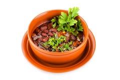Puchar meksykańska chili cynaderki bobowa polewka z mięsem Obraz Royalty Free