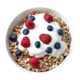 Puchar muesli i jogurt z świeżymi jagodami Zdjęcia Royalty Free