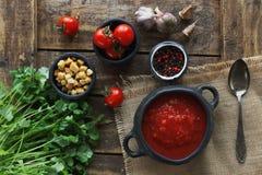 Puchar pomidorowa polewka z goździkowym i czarnym pieprzem na nieociosanym drewnianym tle, odgórny widok Zdjęcie Royalty Free