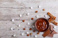Puchar rozciekła dojna czekolada z hazelnuts na drewnianym stole Fotografia Stock