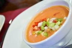Puchar vichyssoise z croutons i warzywami Zdjęcie Stock